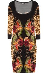 Just Cavalli Printed Satin Jersey Dress - Lyst