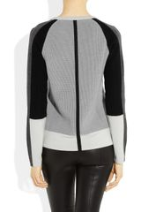Narciso Rodriguez Colorblock Jersey and Ribbed Merino Wool Sweater in Gray - Lyst