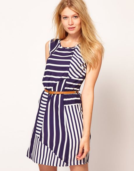 Oasis Stripe Belted Tunic Dress in Blue