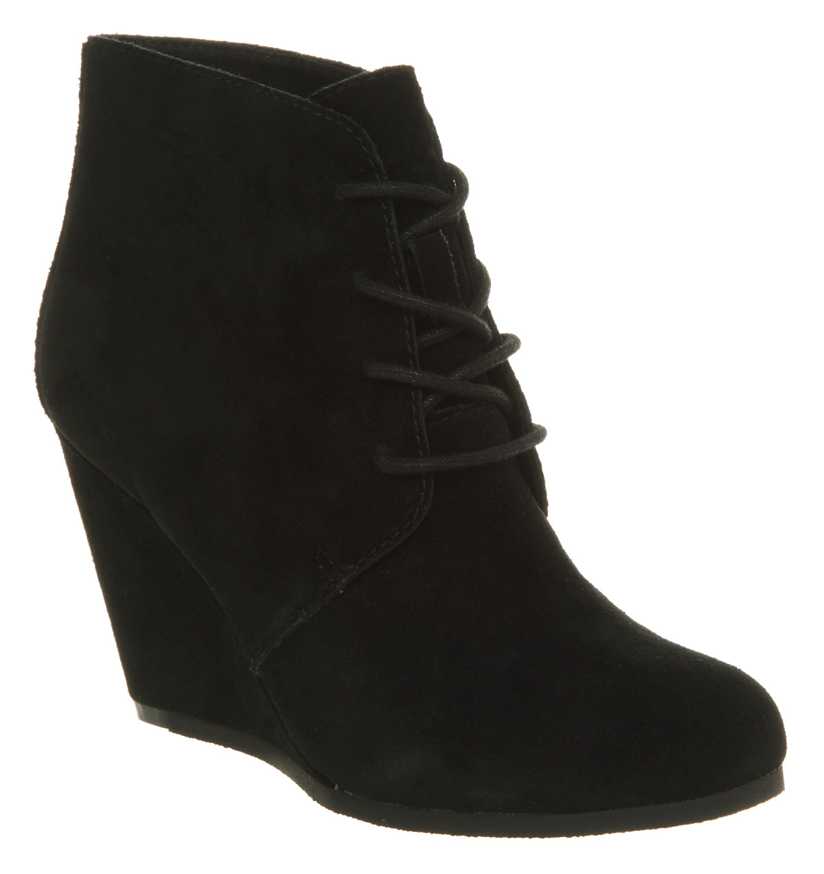 91055ed8328 Lyst - Office Nova Lace Up Wedge Black Suede in Black