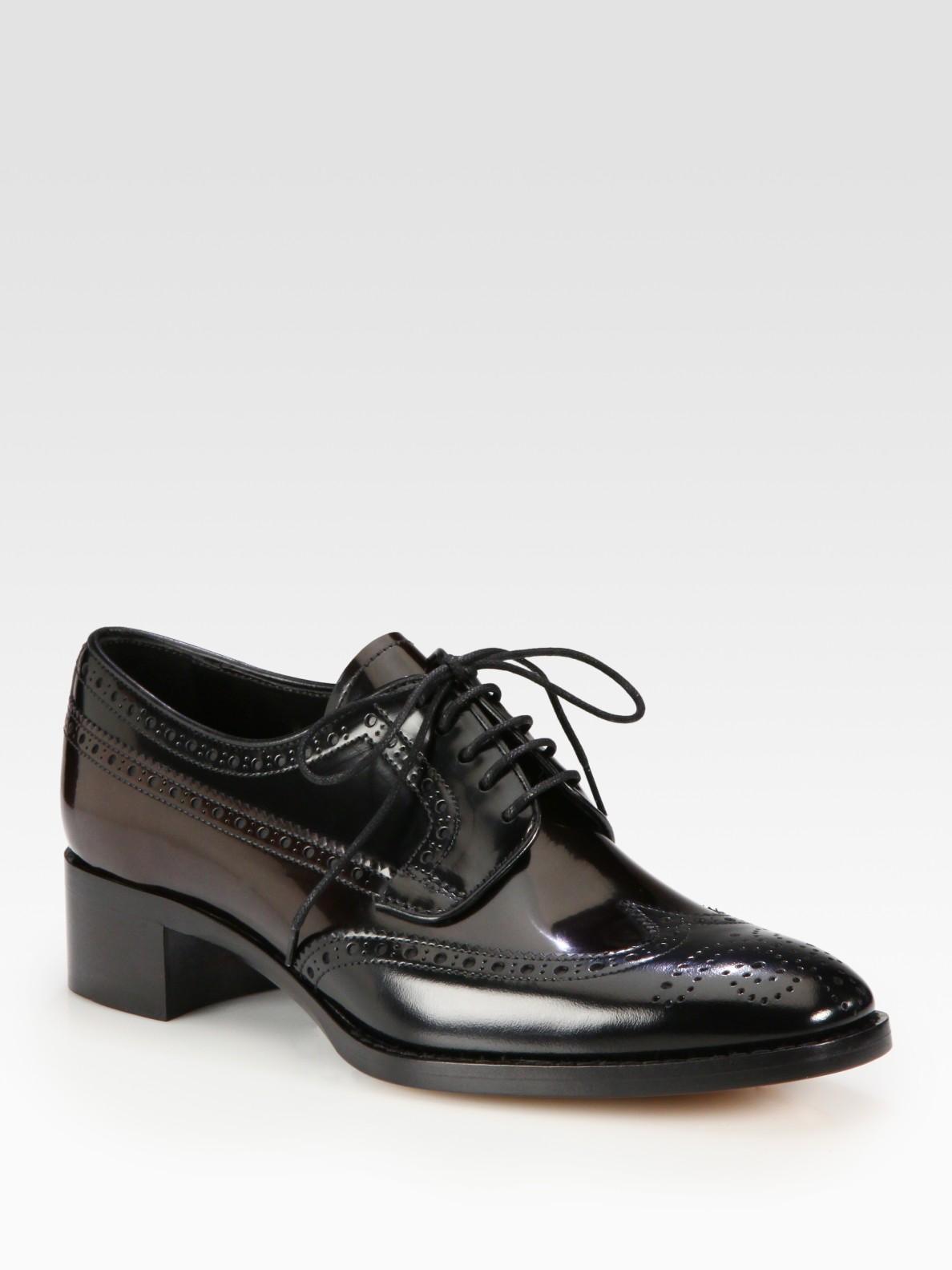 Prada Bicolor Spazzolato Lace-up Oxfords In Black | Lyst
