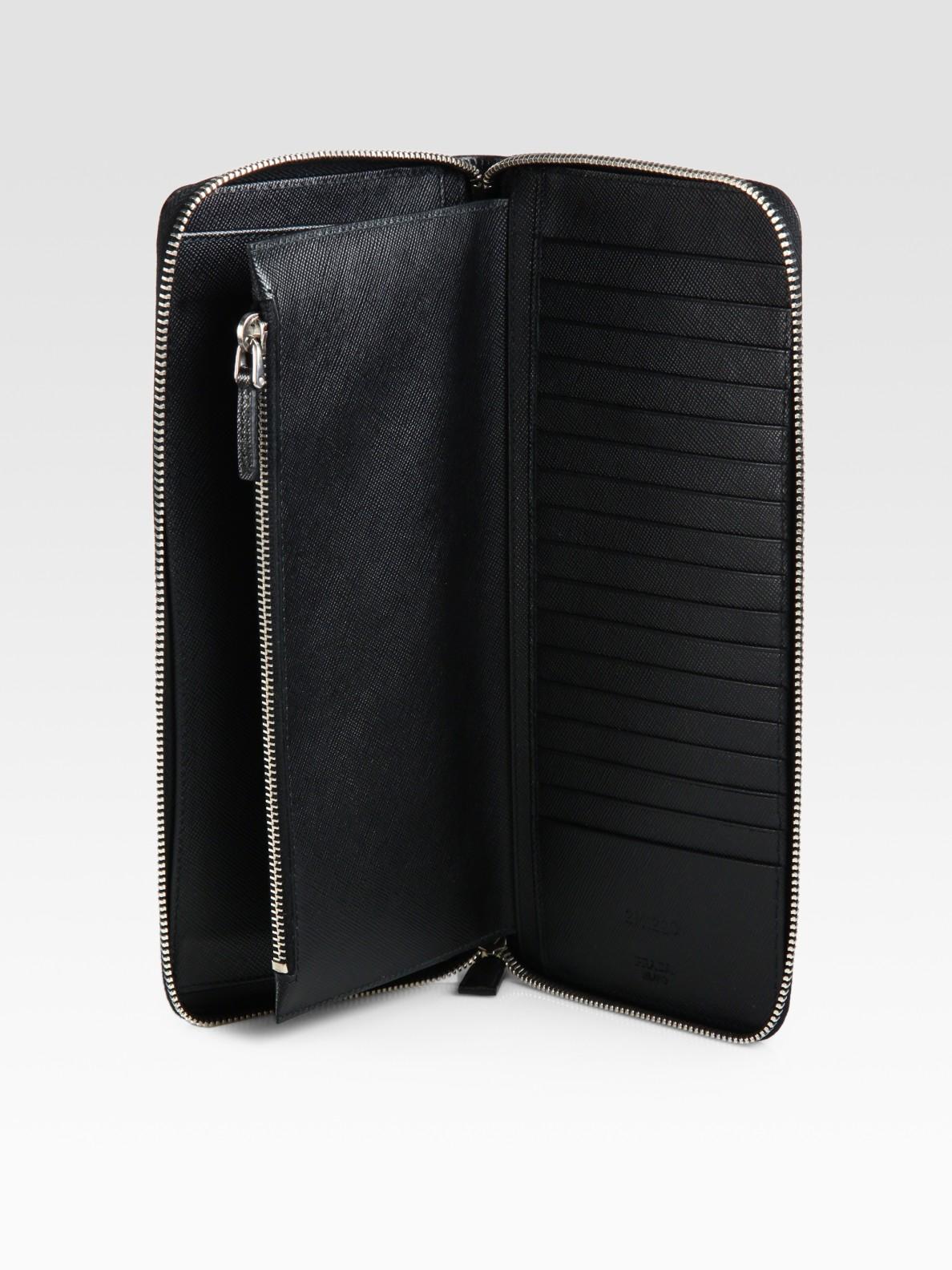 Lyst prada leather document holder in black for men for Prada mens document holder