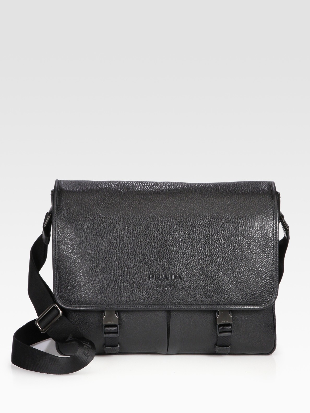 Lyst Prada Pebbled Leather Messenger Bag In Black For Men