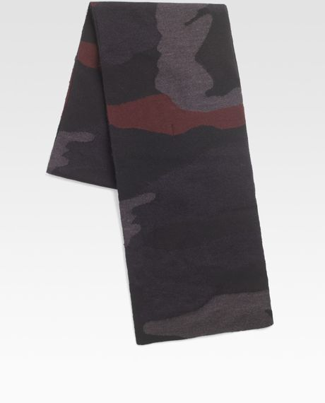 Prada Camo Print Scarf in Blue for Men - Lyst