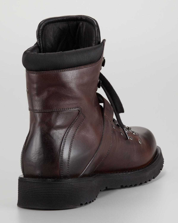 Lyst Prada Strap Hiker Boot Brown In Brown For Men