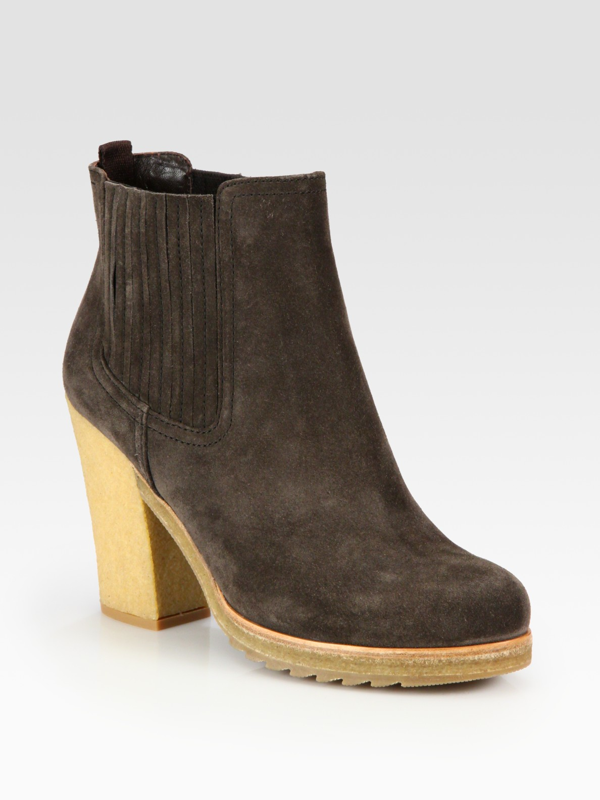 prada suede crepe sole ankle boots in brown lyst
