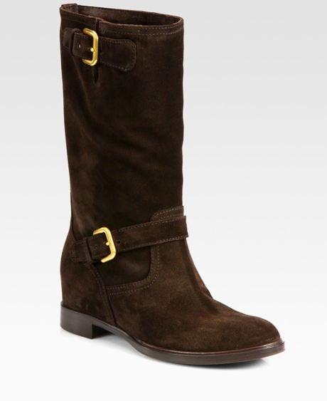 prada suede buckle boots in brown lyst
