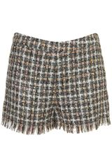 Topshop Coord Boucle Fray Edge Shorts - Lyst