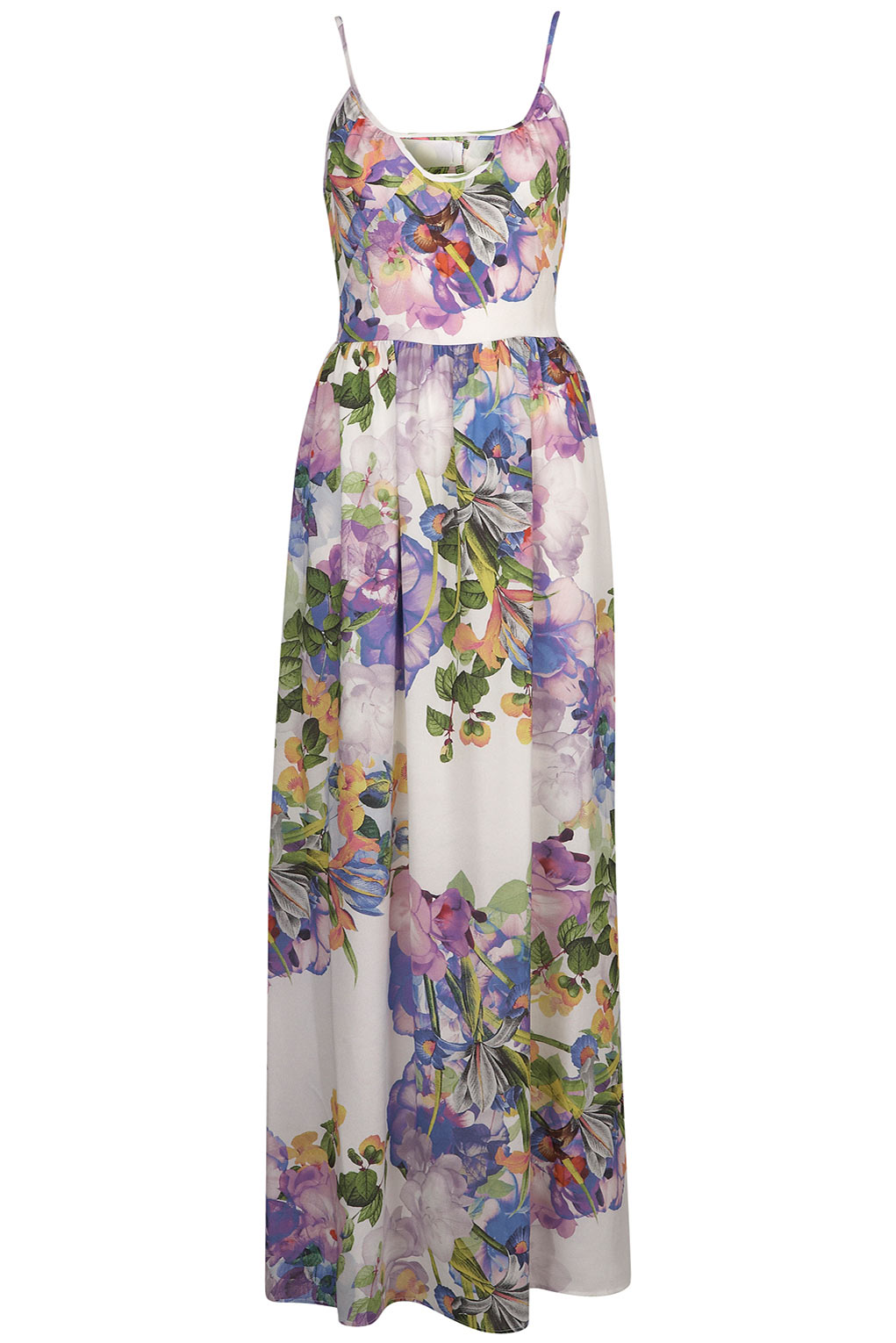 Topshop Floral Print Cutout Maxi Dress In White Lyst