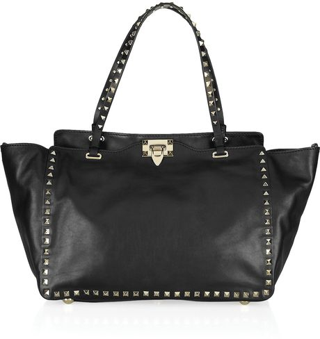 Valentino Studded Leather Tote in Black - Lyst