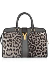 Yves Saint Laurent Cabas Chyc Medium  Calf Hair and Leather Tote - Lyst