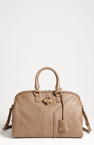 Yves Saint Laurent Muse Leather Satchel in Beige (dove beige) - Lyst