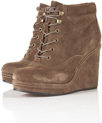 Topshop Andreas Wedge Lace Up Boots - Lyst