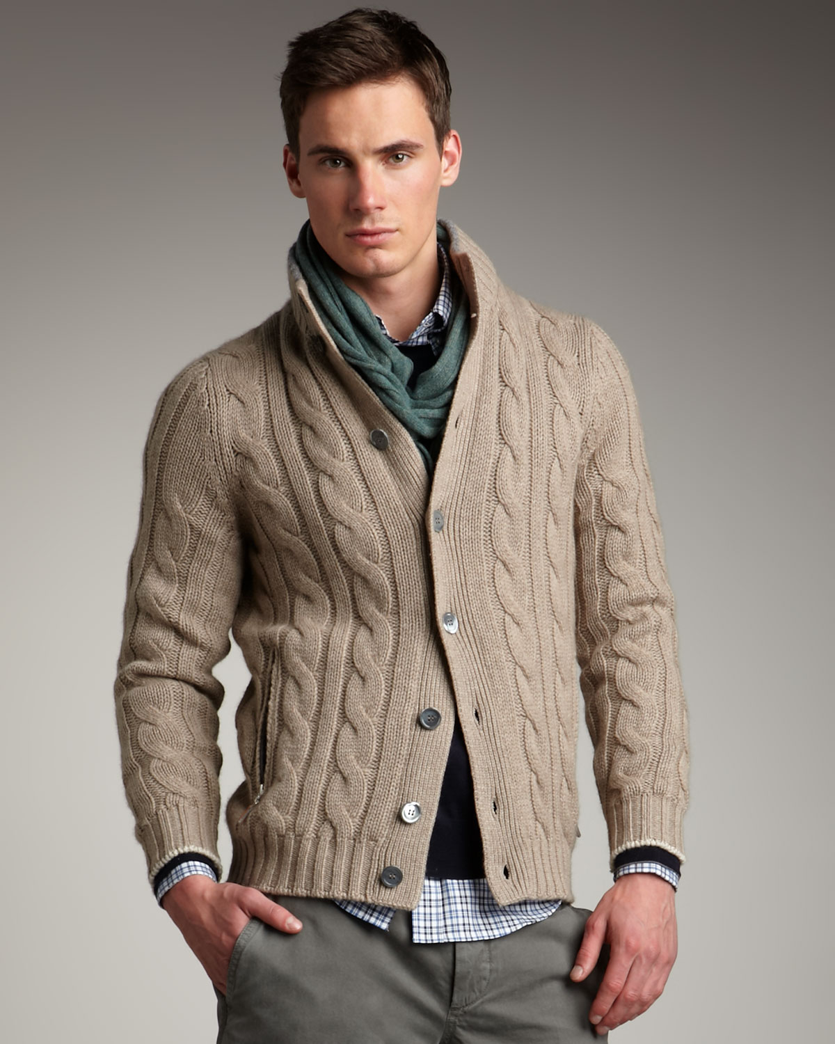 Brunello cucinelli Cable-knit Cardigan in Gray for Men | Lyst