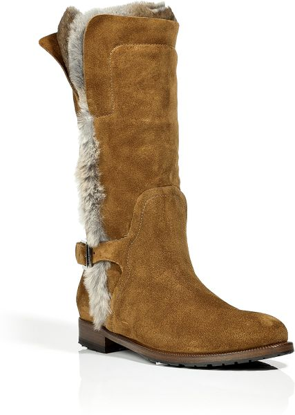 ermanno scervino fur lined suede half boots in brown