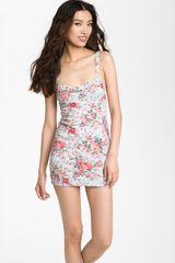 Free People Fitted Floral Jersey Minidress in Floral (denim combo) - Lyst