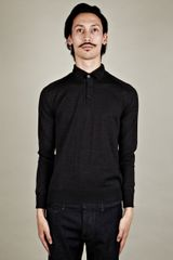 Jil Sander  Mens Button Neck Knit - Lyst