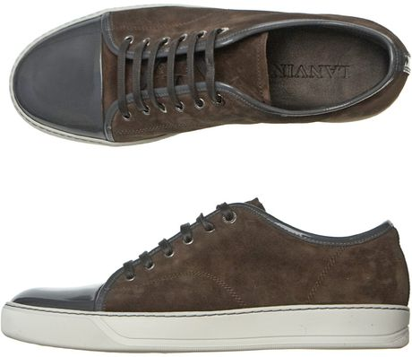 Lanvin Lace Up Trainers in Brown for Men - Lyst