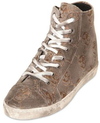Mancapane 20mm Embroidered Skulls Velvet Sneakers - Lyst