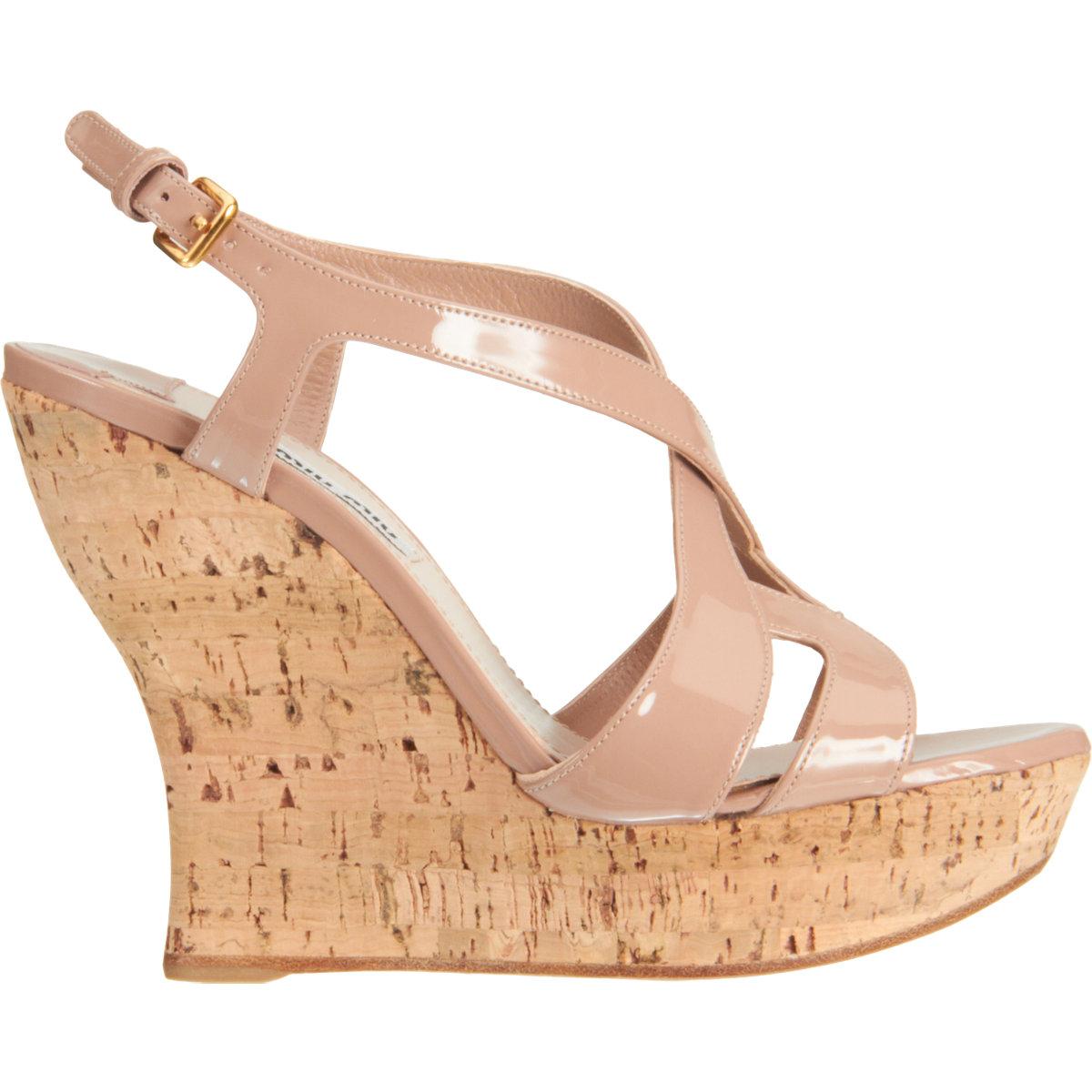 3c9bc30e92c4 Miu Miu Cutout Slingback Wedge Sandal in Natural - Lyst