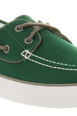 Ralph Lauren Lander Canvas Boat Shoe Green Canvas - Lyst