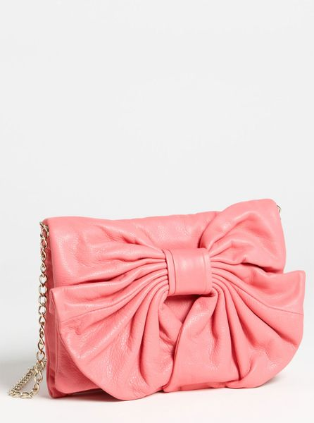 Red Valentino Bow Leather Clutch in Pink - Lyst