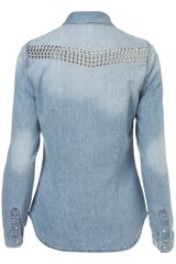 Topshop Studded Bleach Denim Shirt in Blue (bleach stone) - Lyst