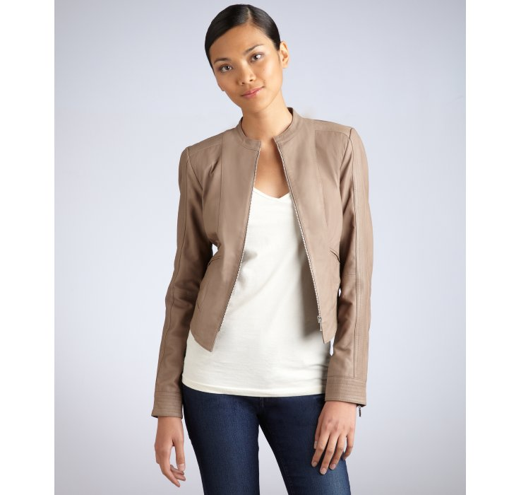 Lyst - Badgley mischka Taupe Leather Camila Zip Leather Jacket in ...