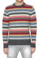 Les Copains Striped Brushed Shetland Wool Sweater - Lyst