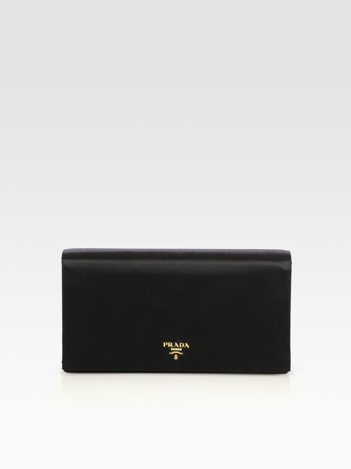 Prada Satin Clutch in Black | Lyst