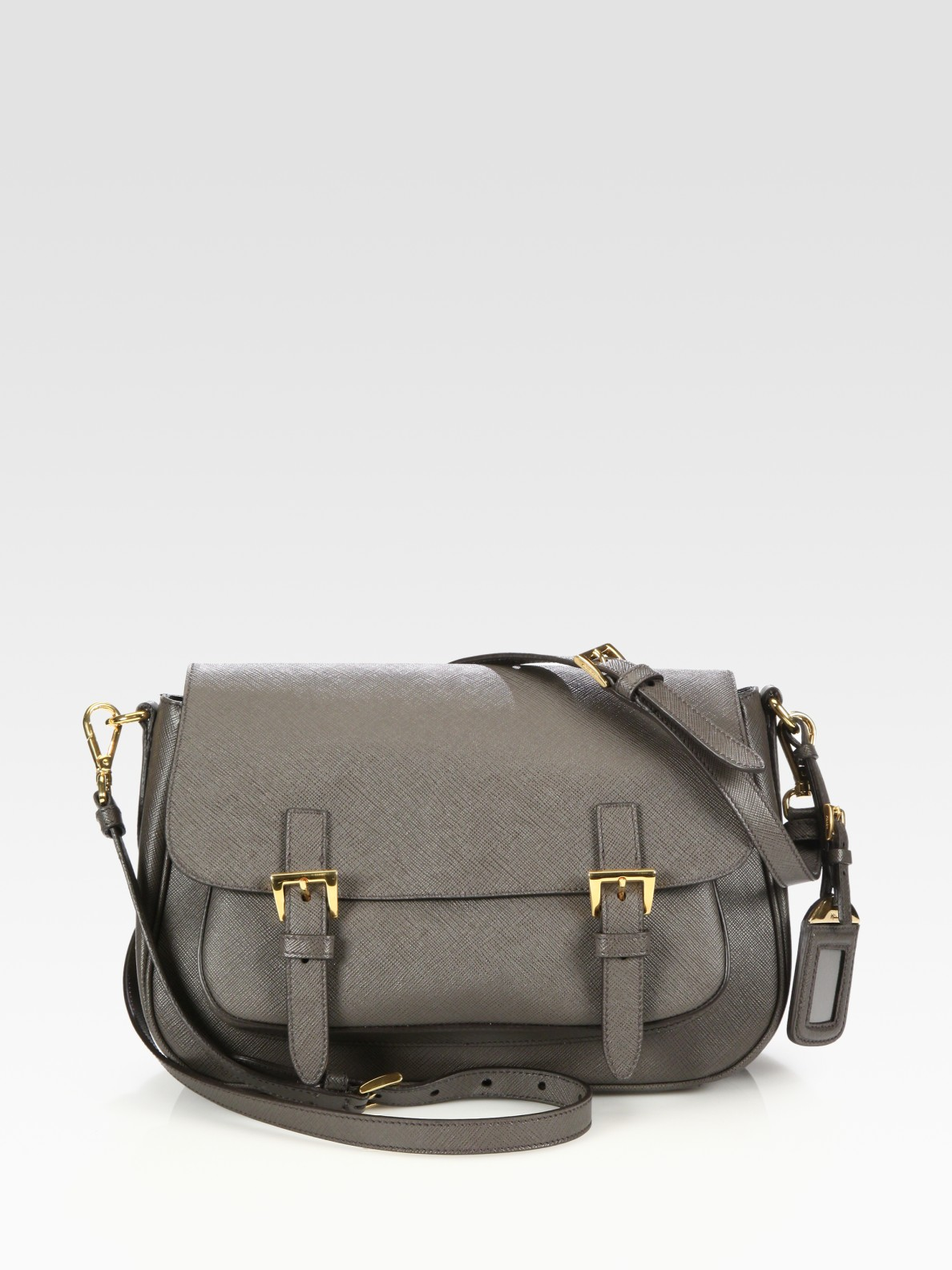 Prada Saffiano Lux Messenger Bag in Gray (grey) | Lyst