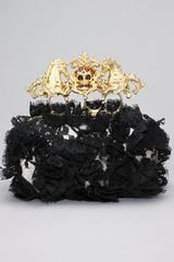 Alexander Mcqueen Lace Unicorn Skull Clasp Clutch in Black (black flesh) - Lyst