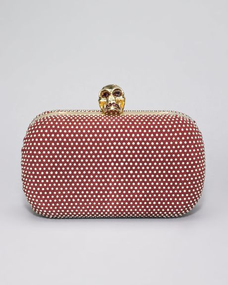 Alexander Mcqueen Studded Skull Clasp Clutch in Red (light oxblood)