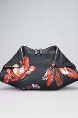 Alexander McQueen Painted Flowers Demanta Clutch - Lyst