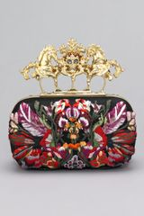Alexander McQueen Embroidered Unicorn Skull Clasp Clutch - Lyst