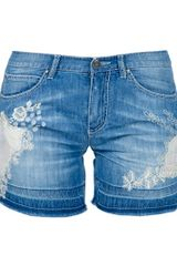 Ermanno Scervino Lace Denim Shorts - Lyst