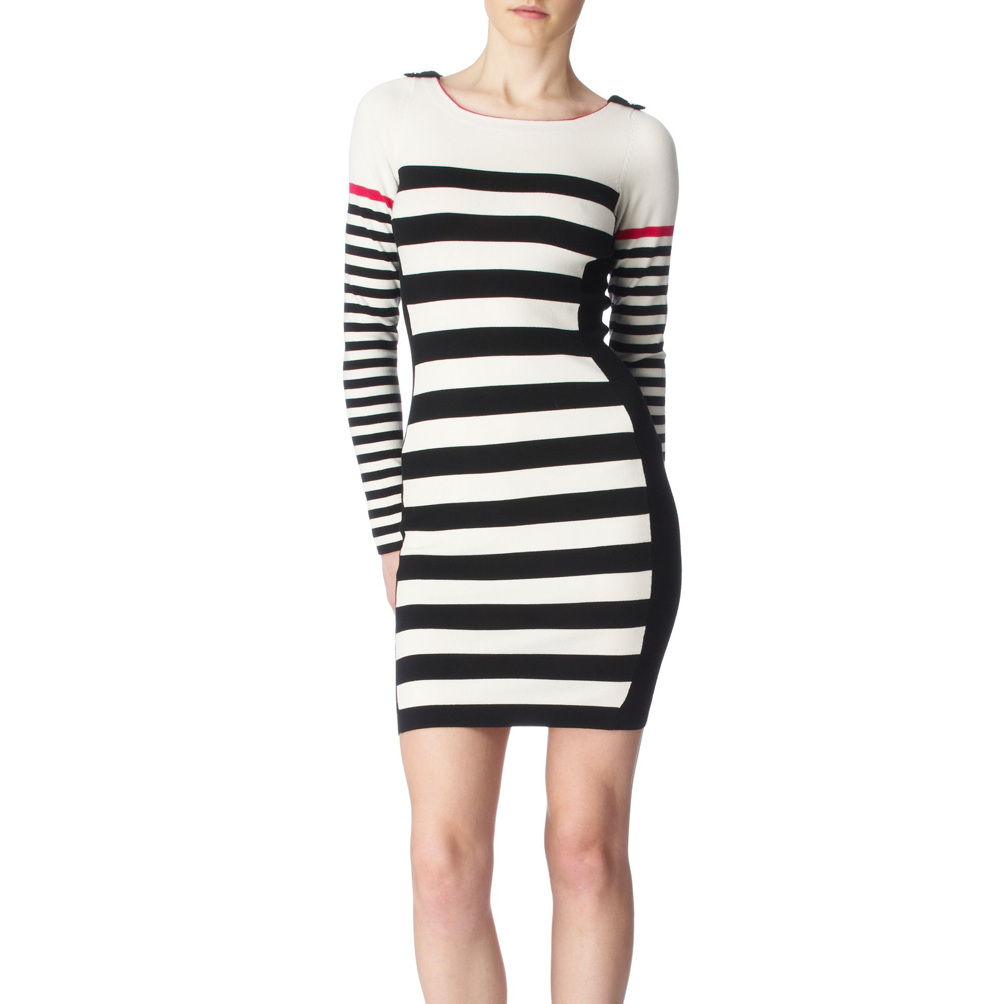 f4e44893 Karen Millen Block Stripe Knit Dress in Black - Lyst