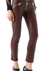 McQ by Alexander McQueen Biker Leather Zip Trousers - Lyst