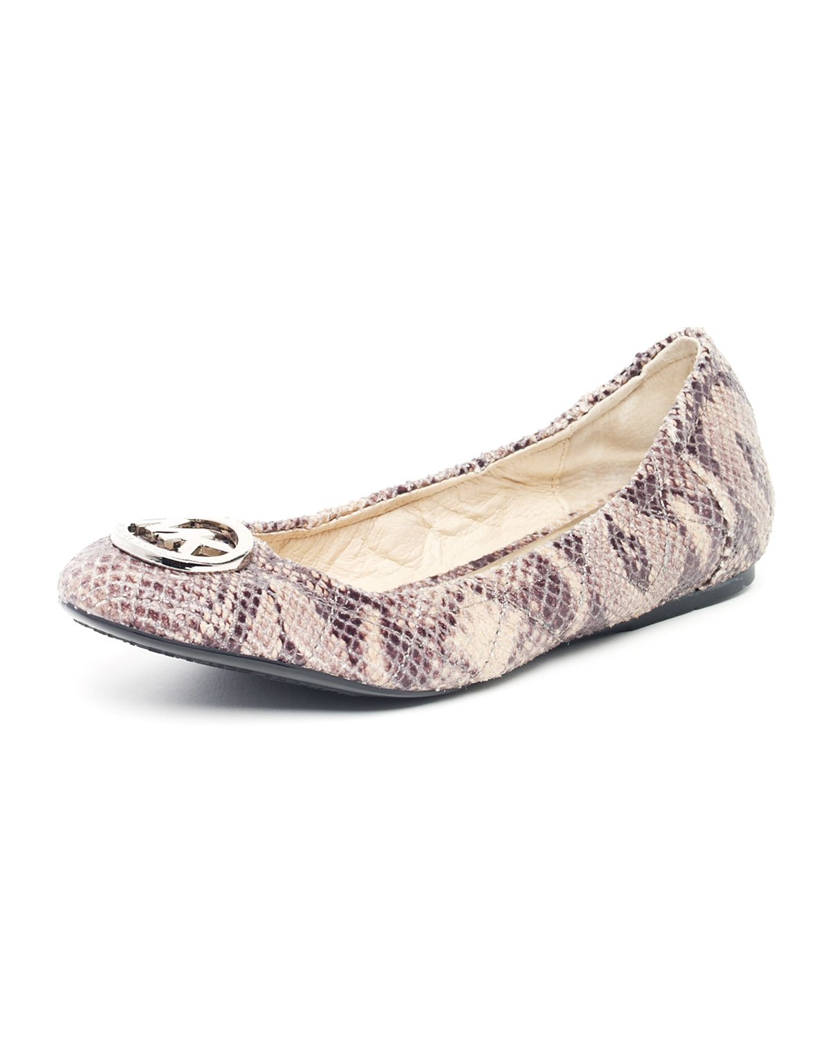 Lyst Michael Kors Fulton Quilted Python Embossed Ballet Flat