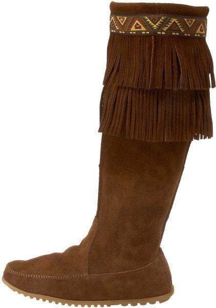 minnetonka minnetonka womens fringe knee high boot in