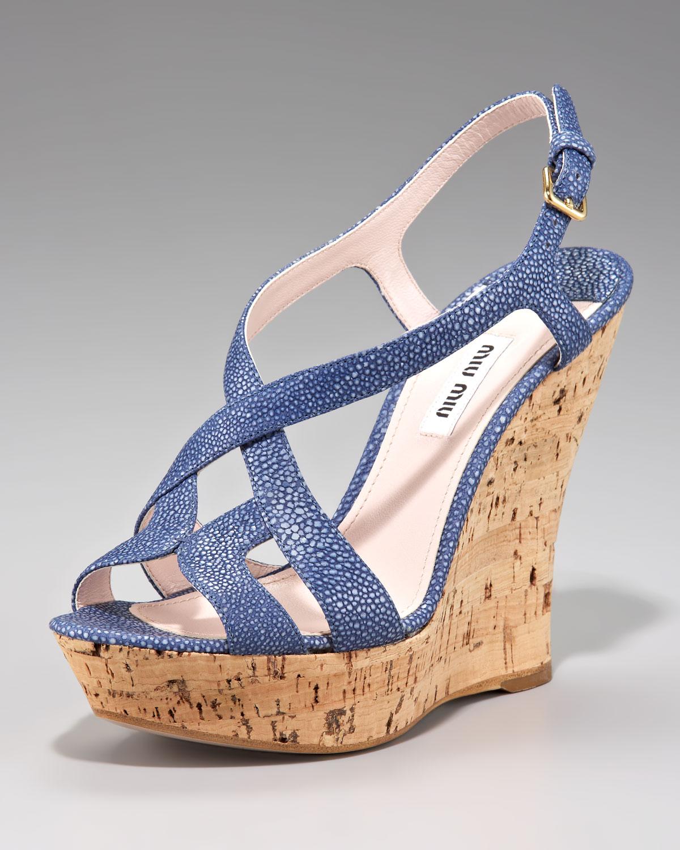 5b777806dbb Lyst - Miu Miu Cutout Wedge Sandal in Blue