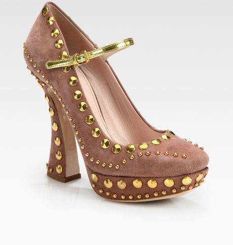 Miu Miu Studded Suede Mary Jane Platform Pumps in Pink (rose) - Lyst