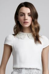 Alice + Olivia Bali Bead Collar Blouse in White (ivory) - Lyst