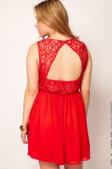 Asos Skater Dress with Lace Back - Lyst