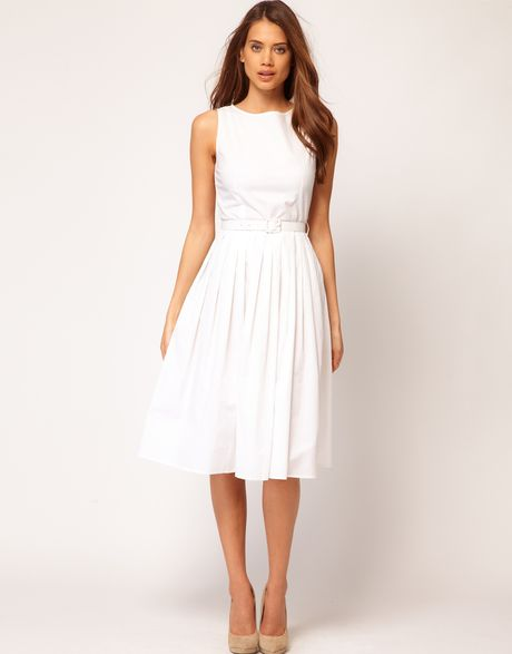 asos belted midi summer dress in white lyst