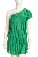 BCBGMAXAZRIA Oneshoulder Tiered Dress - Lyst