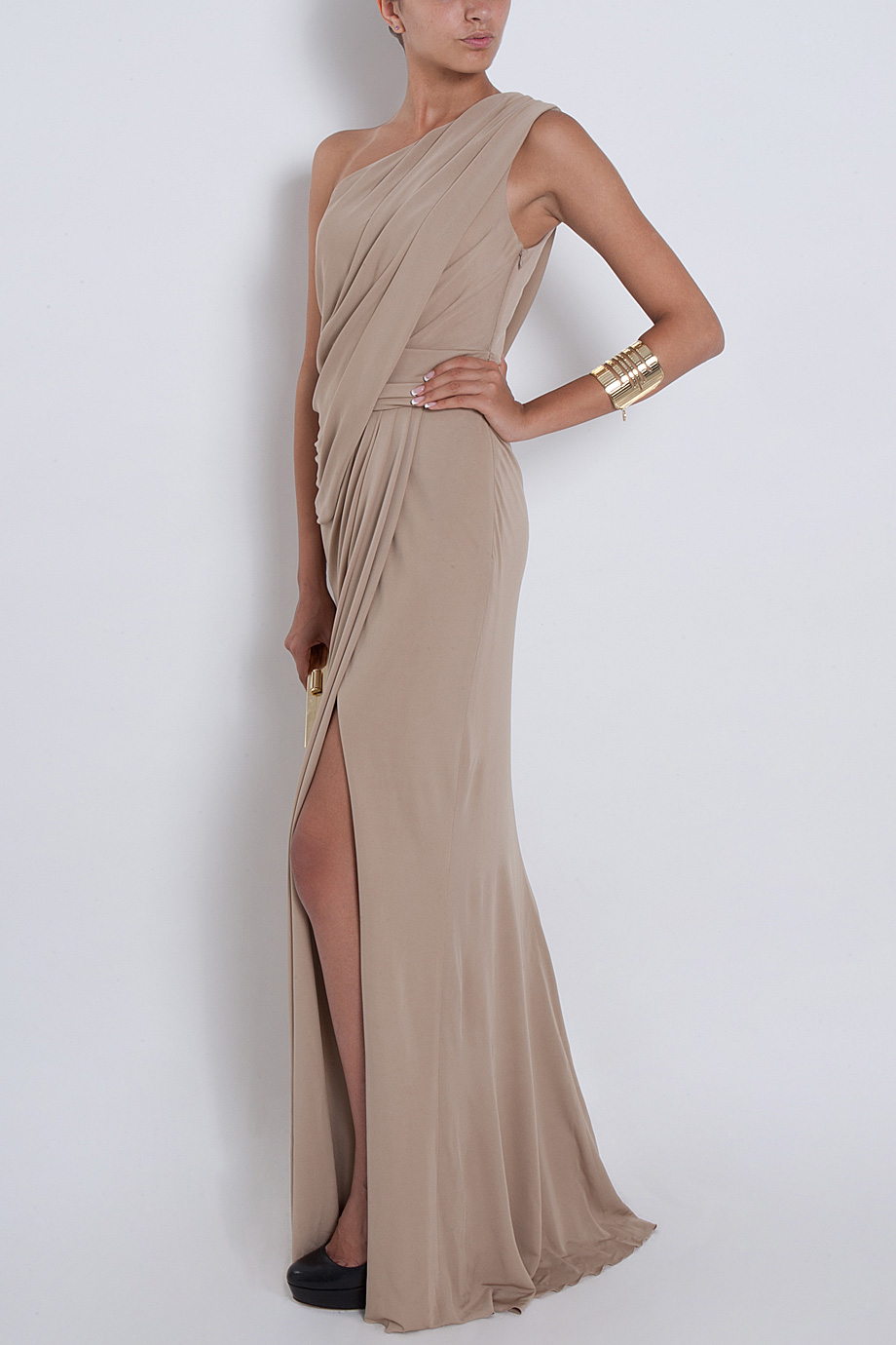 Lyst Elie Saab One Shoulder Draped Gown In Natural
