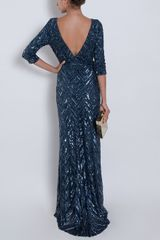Elie Saab Three Quarter Sleeves Gown in Blue (nude) - Lyst