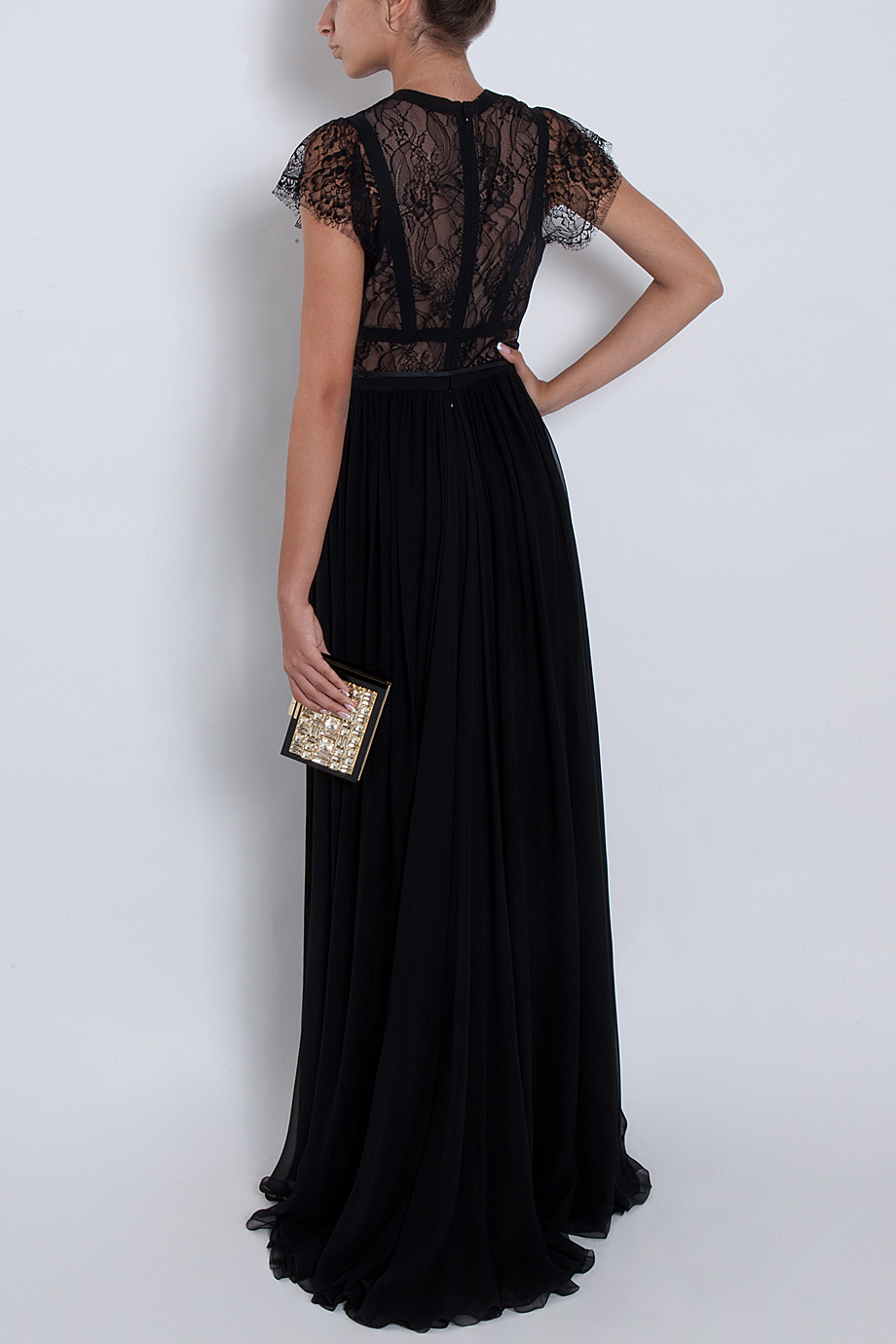 Elie Saab Cap Sleeve Lace Body Gown In Red Lyst