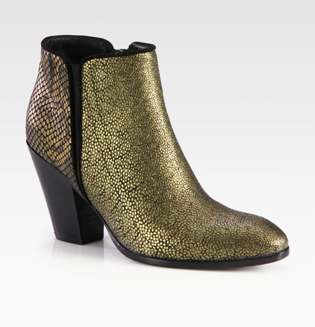 Giuseppe Zanotti Snakeembossed Metallic Leather and Suede Ankle Boots in Gold (bronze) - Lyst